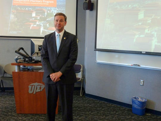 State Rep. Trent Ashby, R-Lufkin, talks Friday about UTEP's new School of Pharmacy.