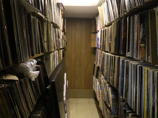 Shelves of albums are stored in the basement of WDKX-FM