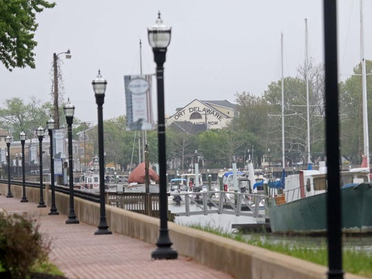 Boats along the Branch Canal are shown on Monday. Delaware City voters are deciding whether to annex the area around Fort Dupont on Thursday.