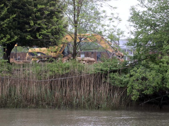 Construction along the Branch Canal that runs through Delaware City and the Fort DuPont property is shown on Monday. The site is being redeveloped into house and other buildings.