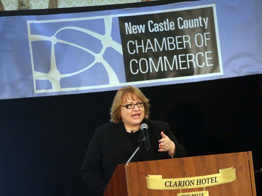 Michelle Morin, executive director of the State of Delaware Office of Supplier Diversity, speaks after receiving the Entrepreneurial Advocate of the Year Award from the New Castle County Chamber of Commerce.