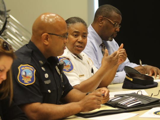 City of Wilmington police Lt. Ruth Townsend talks during a school safety meeting at Woodlawn Library on Monday morning.