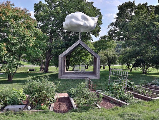 The community gardens and the Cloud House art installation