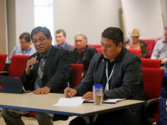 Navajo Nation President Russell Begaye, left, and Arlando Teller, acting deputy director for the Navajo Division of Transportation, respond to comments and questions during the New Mexico Legislature's Indian Affairs Committee meeting on Tuesday in Tsé Bonito.