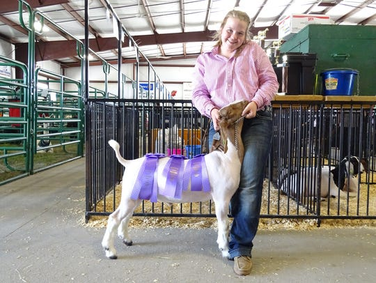Emily Rudd, 15, of Bucyrus, and her goat, Gus, show