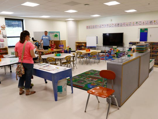 Parents and 4K students tour the classroom during Tuesday's open house at Hawthorn Hills Elementary School in Wausau.