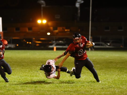 Owen-Withee vs. Abbotsford boys football match during Friday's Cloverwood Conference at Abbotsford High School football field.