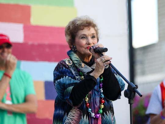 Sheila Klinker spoke during the 2016 OUTfest in downtown Lafayette.