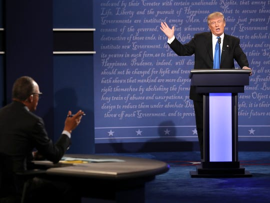 Donald Trump speaks during the first presidential debate,