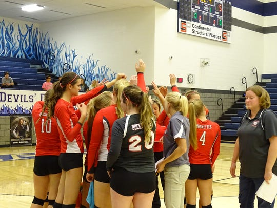 The Buckettes huddle early in the first game against Carey on Thursday night.