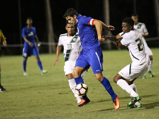 Action from Tuesday night's Battle for I-75  match-up between No. 12 FGCU and USF at the FGCU Soccer Complex.
