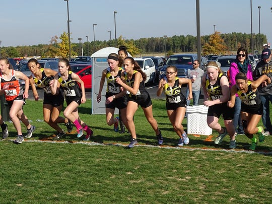 The Colonel Crawford girls bolt away from the starting line at the N10 championship Saturday morning.