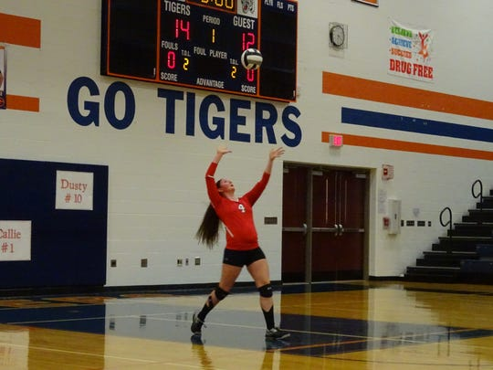 Veronica Lewis serves up for the Lady Redmen in the