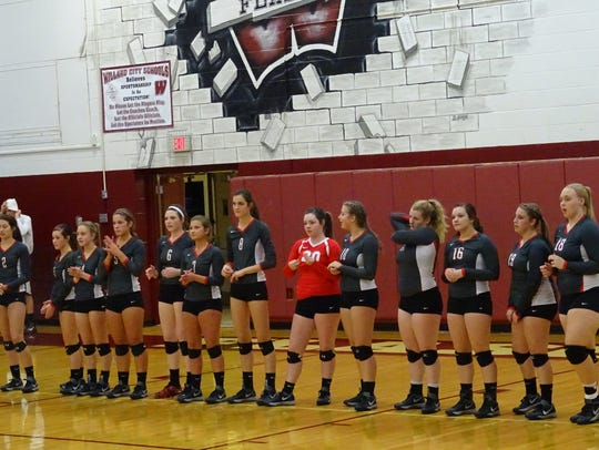 The Buckettes lined up before the district semifinal