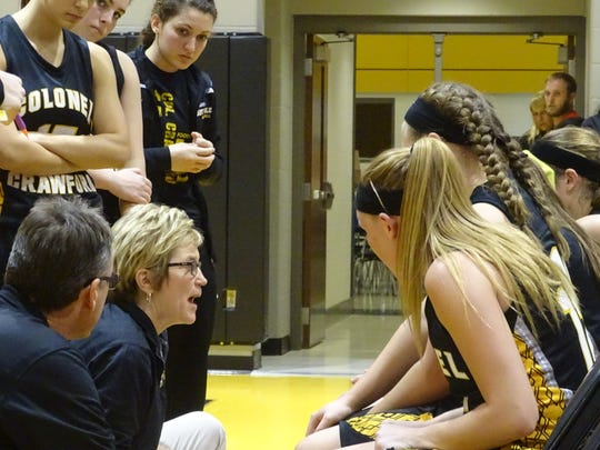 Kyle Fenner addresses her team during a timeout in