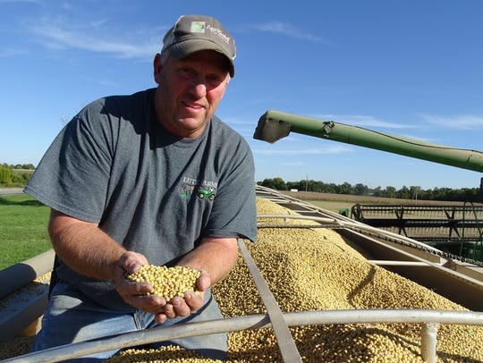 Greg Lutz of Bucyrus examines a load of soybeans from atop his semi at the end of the 2016 harvest season.
