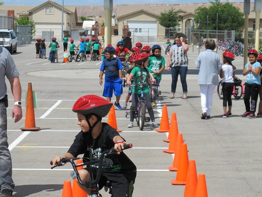 Students in Mesquite, Nevada, participate in a bike