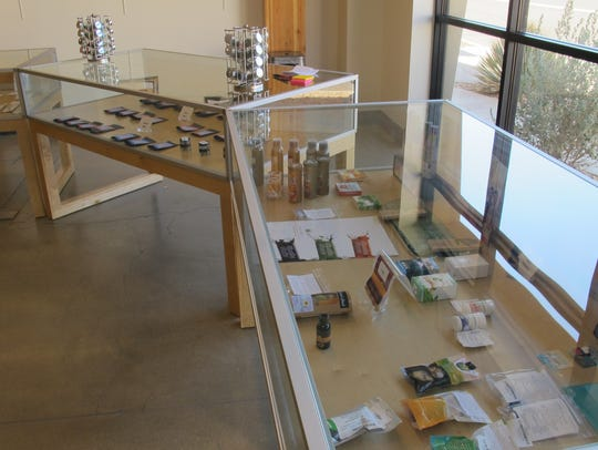 Edibles and a variety of cannabis strains are on display