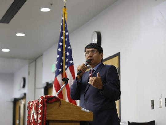 Navajo Nation Vice President Jonathan Nez talks about attending college during the Chief Manuelito Scholarship awards ceremony on Friday at the Henderson Fine Arts Center at San Juan College in Farmington.