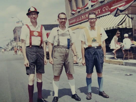 Men show off their authentic German attire during the