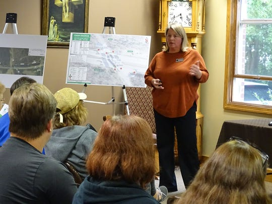 ODOT District 3 traffic engineer Julie Cichello details plans for proposed safety improvements to the intersection at U.S. 30 and Ohio 603.