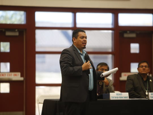 Jerry Valdez, deputy director for the New Mexico Motor Vehicle Division, shares information about the requirements to apply for a Real ID driver's license at the town hall meeting on Friday at Navajo Technical University in Crownpoint.