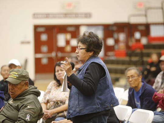 Helen Antonio attended the town hall meeting on Friday to tell tribal and state officials about the problem she is having to prove a physical address in Littlewater Chapter.
