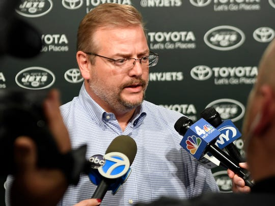 FILE - In this April 24, 2017 photo, New York Jets general manager Mike Maccagnan speaks to the media before the 2017 NFL Draft in the Atlantic Health Training Center in Florham Park. On Friday, Dec. 29, 2017, Maccagnan and Jets coach Todd Bowles got contract extensions that will take them through the 2020 season.