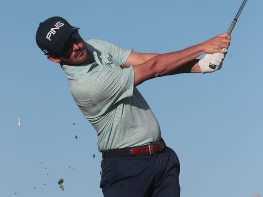 Andrew Landry tees off during the final round of the