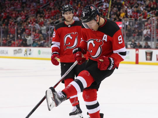 New Jersey Devils left wing Taylor Hall (9) celebrates his goal during the second period of their game against the Vegas Golden Knights at Prudential Center.