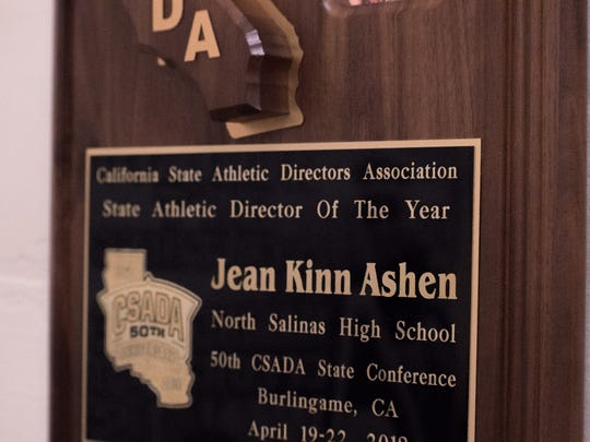 The California State Athletic Directors Association has given out 46 Athletic Director of the Year awards since 1973. Last Saturday, Jean Ashen became the 47th in state history.