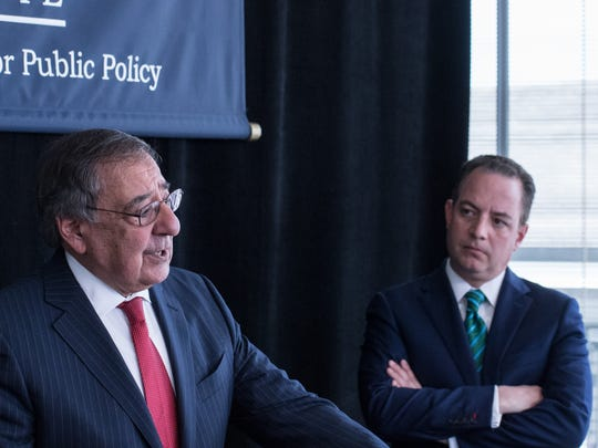 Leon Panetta (right) speaks at a press conference as Reince Priebus, former chief-of-staff to President Donald Trump, looks on. Priebus is part of a panel discussion on the American Dream Monday in Monterey.