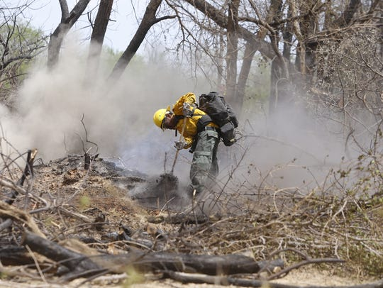 A firefighter works on smoldering tree stumps on Monday near Navajo Route 364 and Fifth Lane in Shiprock.