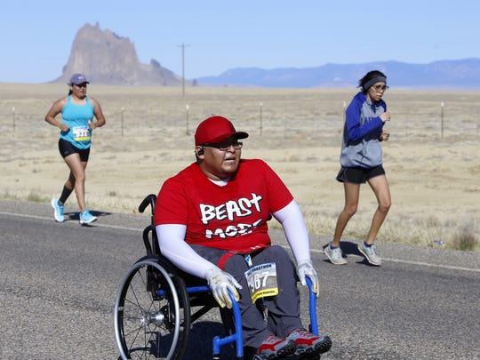 Mark Pierre competes, Saturday in the Shiprock Half Marathon. He finished the race in 1 hour, 52 minutes and 30 seconds.