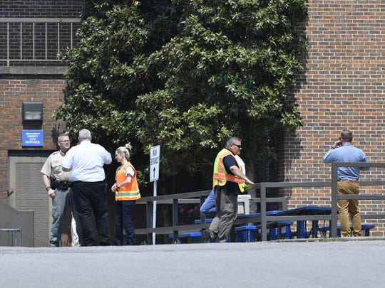 First responders on the scene of a chemical explosion in a science lab at Merrol Hyde Magnet High School Wednesday, May 9, 2018