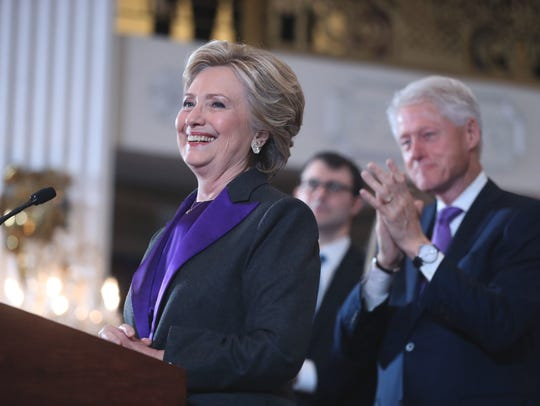 Then-Democratic presidential candidate Hillary Clinton