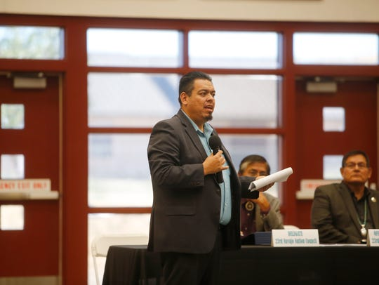 Jerry Valdez, deputy director for the New Mexico Motor Vehicle Division, shares information about the requirements to apply for a Real ID driver's license at the town hall meeting on Oct. 13 at Navajo Technical University in Crownpoint.