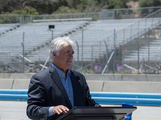IndyCar CEO Mark Miles was one of many officials on hand to welcome Laguna Seca back to the IndyCar calendar as the season finale next year.