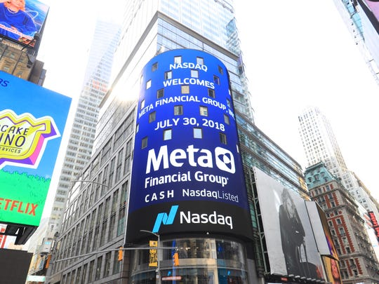Sioux Falls-based Meta Financial Group was featured on a Times Square marquee, as the company's leadership rang the opening bell of Nasdaq in New York on Jan. 30.
