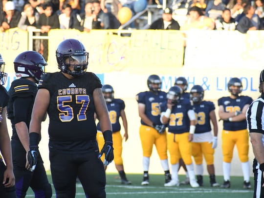 Salinas defensive lineman Sebastian Gomez (57) and the rest of the Cowboys' defensive line have a tough task this week facing a big Clovis offensive front.