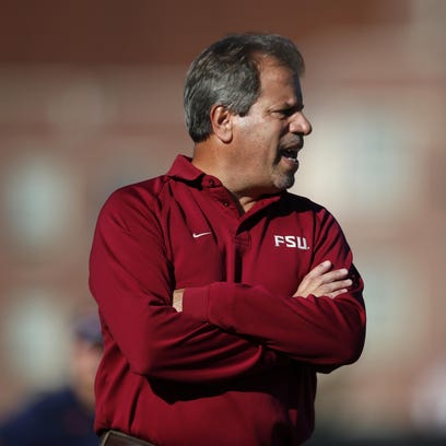 FSU Soccer head coach Mark Krikorian yells out to his