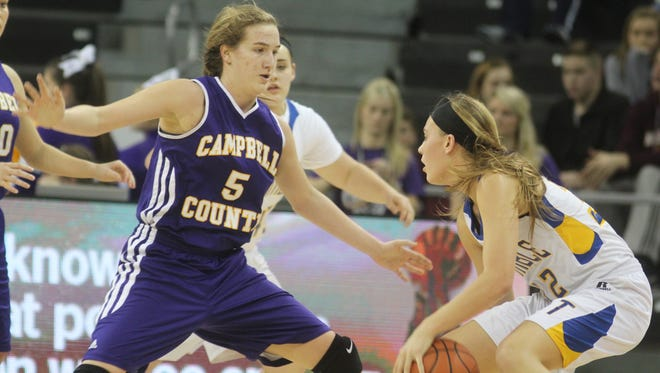 Campbell County sophomore Mackenzie Schwarber plays defense.