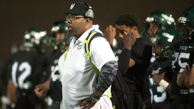 Winslow Township High School's interim football coach Jeffrey Lake watches a play during Friday night's football game between Winslow Township and Camden played at Winslow Township High School.  11.03.17
