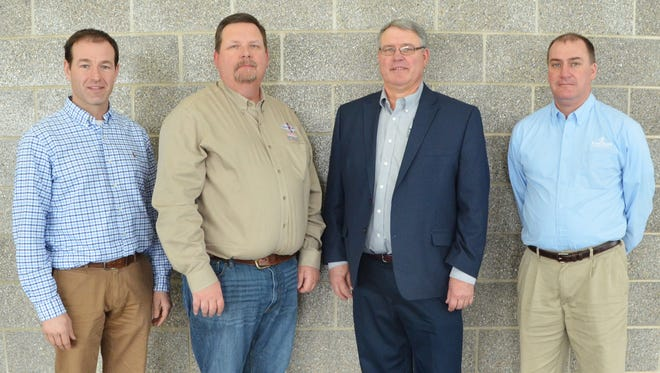 New members of the World Dairy Expo Board of Directors include, from left, Jason Danhof, Purebred Breeders of WDE; Kevin Jorgensen, Select Sires, Inc.; Boyd Schaufelberger, Holstein Association, USA, Inc.; and Dan Belk, Foremost Farms USA.