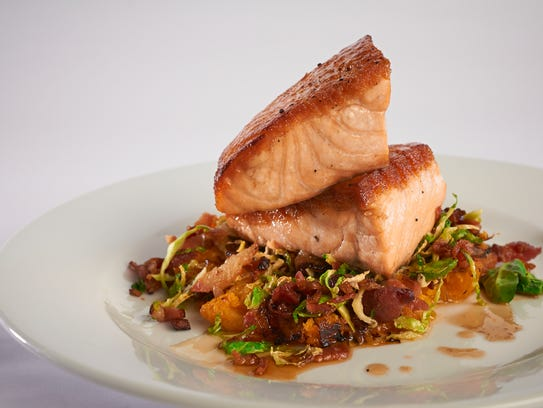 Fish On will offer a similar seared salmon, with turnips, spinach and mushroom dashi.