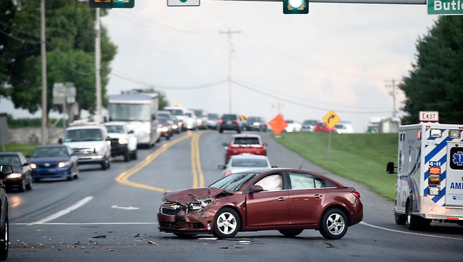 A Chevy Cruze driven by 72-year-old Walter Hynicka of Lititz is disabled at the intersection of Route 322 and Butler Road after it collided about 4 p.m. Thursday with a Geo Tracker driven 65 year-old Richard Pankake of Lebanon. Thursday. Both men were taken by ambulance to Wellspan Good Samaritan Hospital.