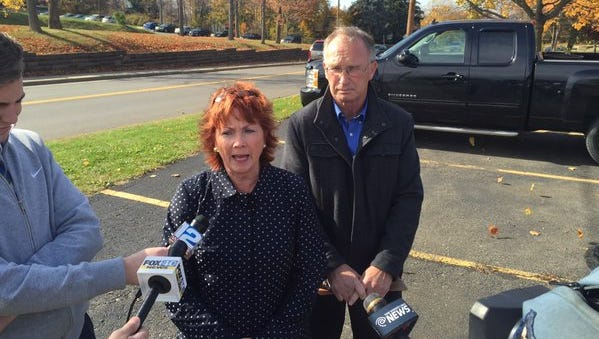 Broome County Legislators Kim Myers and Mark Whalen speak on the county's outsourcing proposal for Central Kitchen.