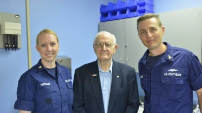 Petty Officer 2nd Class Kimberly Trevallee and Senior Chief Petty Officer Chuck Weiss, both health services technicians for the Coast Guard 5th District, with Richard Smith at the Sector Field Office Eastern Shore medical facility in Chincoteague.