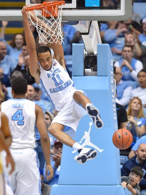 North Carolina Tar Heels forward Brice Johnson slams down an easy two.