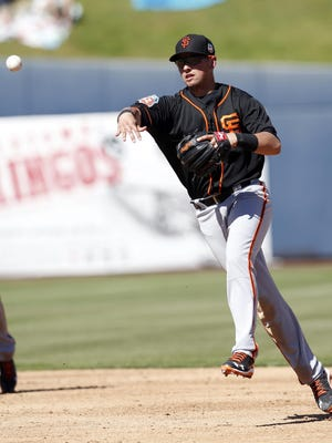 San Francisco Giants second baseman Joe Panik, a John Jay High School graduate, makes an off-balance throw for an out against the Milwaukee Brewers during a spring training game in Phoenix on March 10.